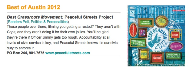 Peaceful Streets Project named Best Grassroots Movement
